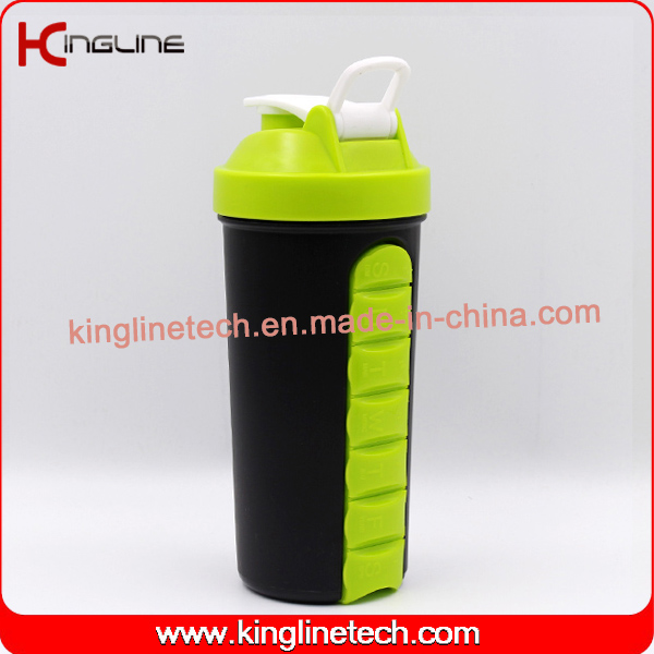 700ml plastic protein shaker bottle with handle, with 7 days pillbox inside