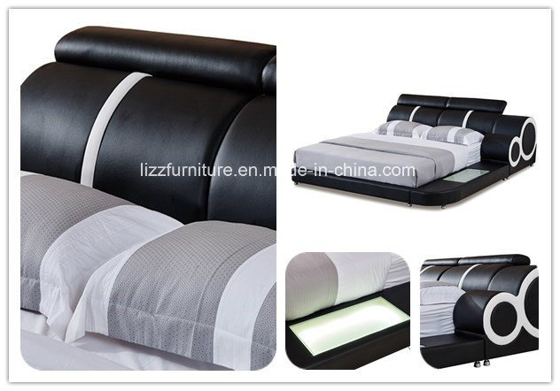 Adjustable Bedroom Set Double Leather Bed with LED