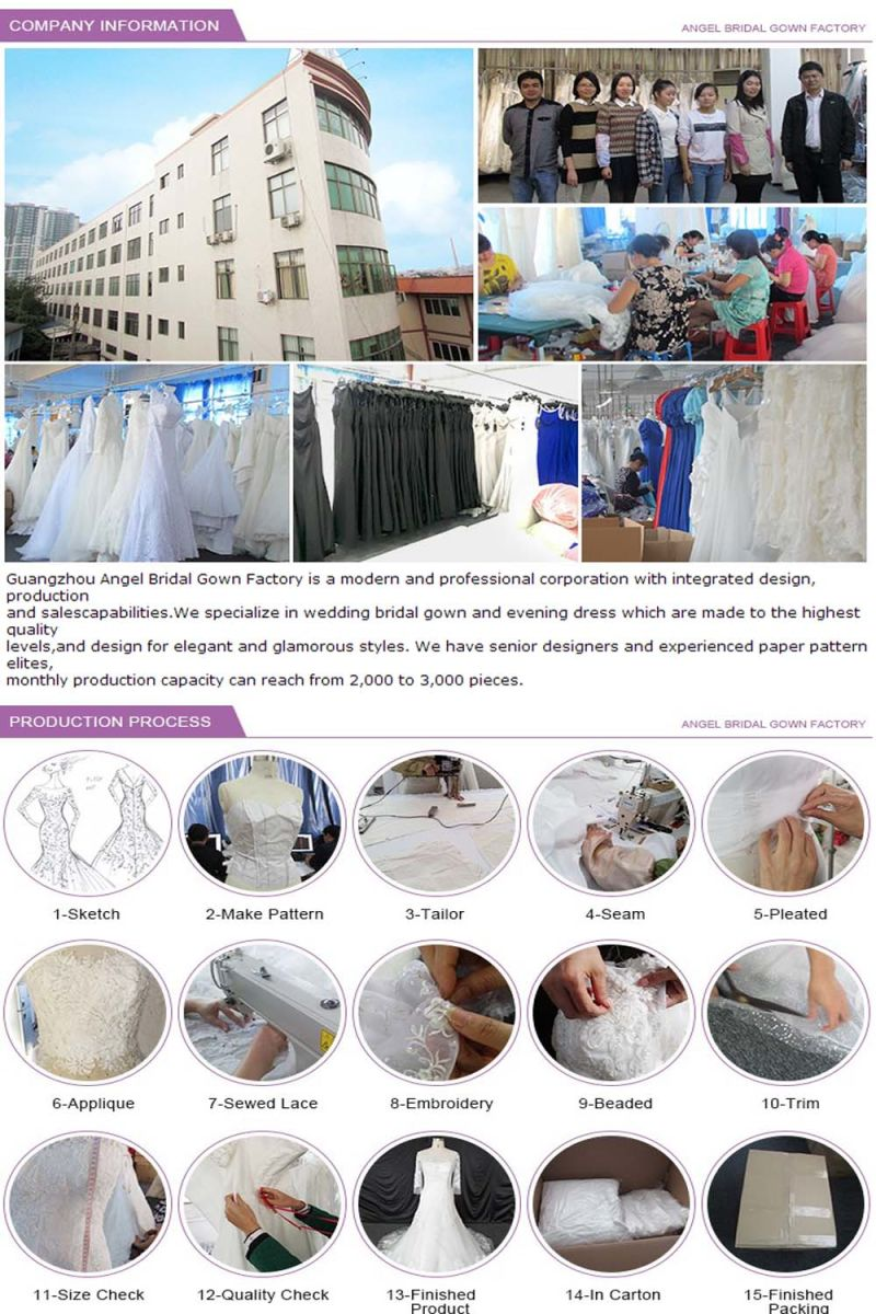 Long Sleeve Stain Train Factrory Direct Hot Sale Wedding Dress
