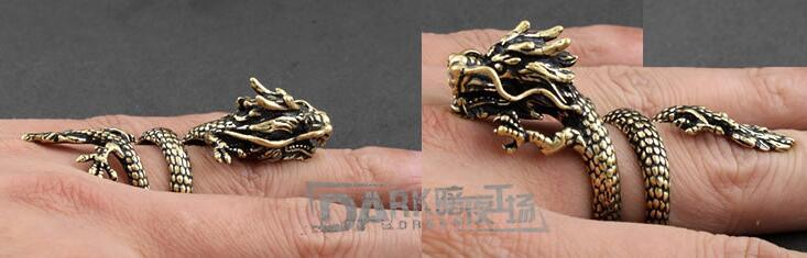 Brass-Made Male Ring Gragon Flying Design Old Color Retro Fashion