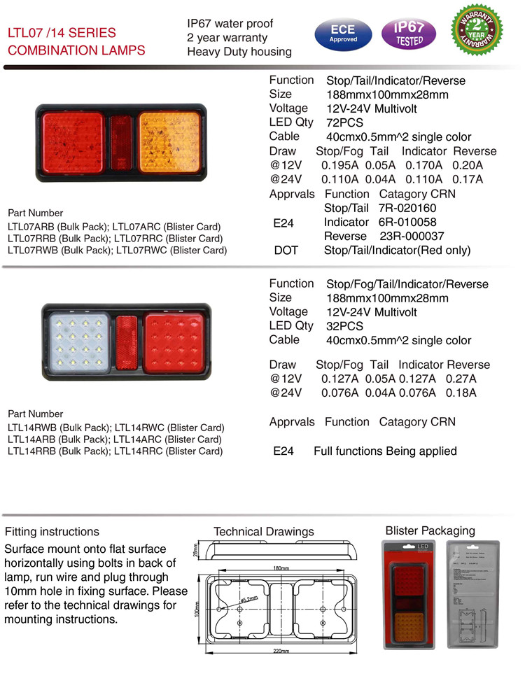 Ltl07 Waterproof E-MARK DOT Stop/Tail/Rev Green Truck LED Lights