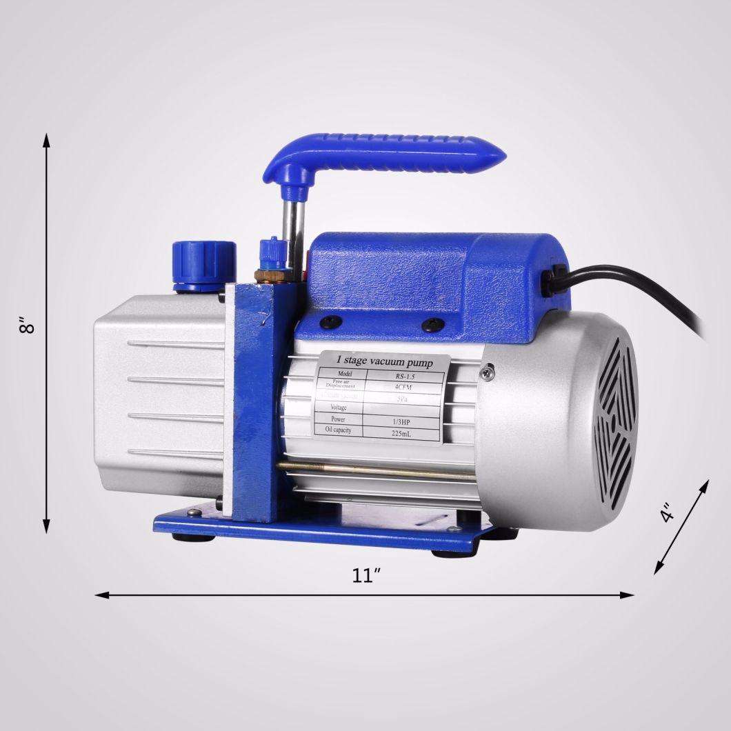 3cfm 1/4 HP Vacuum Pump HVAC Refrigeration Kit Manifol Single Stage