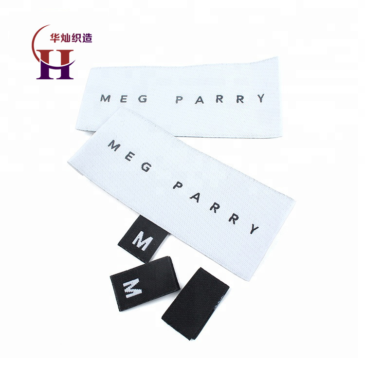 High Density Custom Brand Name Logo and Size End Folded Textile Neck Woven Tags Labels for Clothing