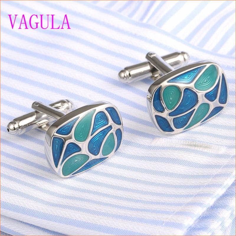 VAGULA Gemelos Men French Shirt Enamel Brass Cuff Links 350