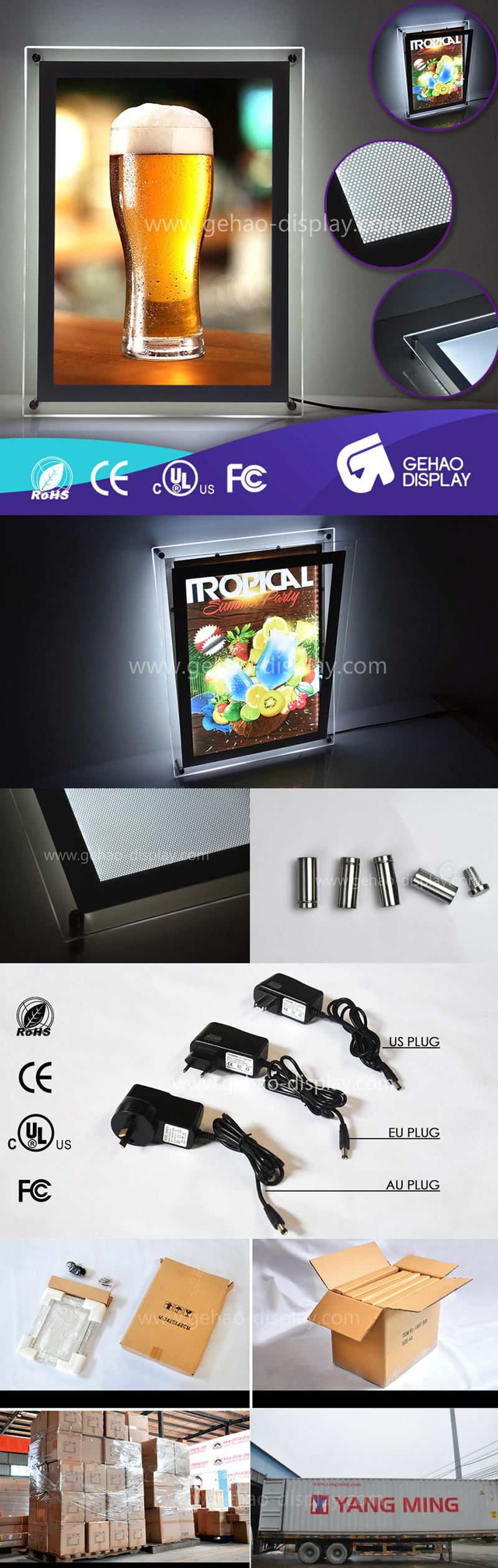 Customized Size Advertising LED Crystal Photo Frame