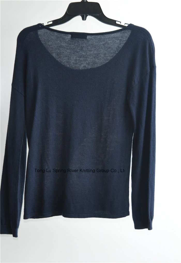 Wool Blend Long Sleeve Pullover Knitted Sweater