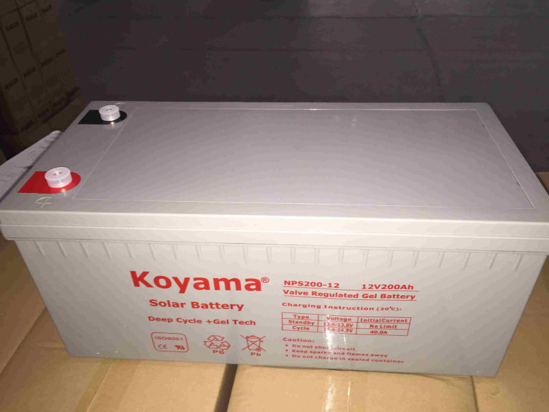 12V 200ah Lead Acid Solar Deep Cycle Gel Battery for Telecom, Solar System