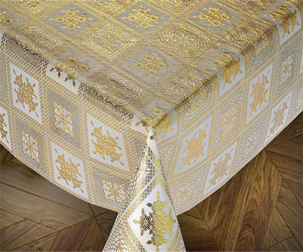 137cm PVC Gold Lace Tablecloths New Designs