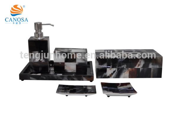 Black imitation horn bathroom accessories gift set for hotel amenity