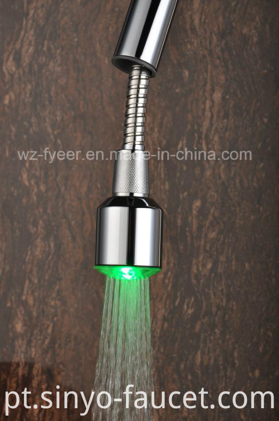 Pull-out Spray Self-Power 3 Color LED Kitchen Sink Faucet (QH0781-4F)