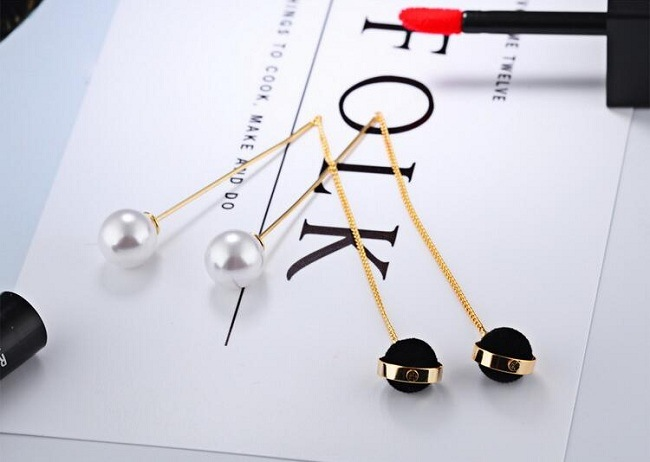 Top Quality White/Black Imitation Pearl Earrings 75mm Long Gold Color Drop Earrings for Women Wedding Jewelry Girl Gifts