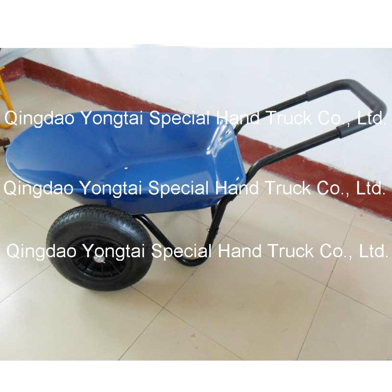 5 Cubic Feet Metal Tray Garden Wheelbarrow with Double Wheels