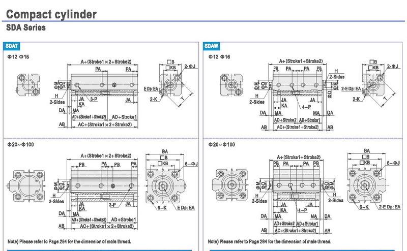 Compact Thin Type Aluminum Pneumatic Cylinder