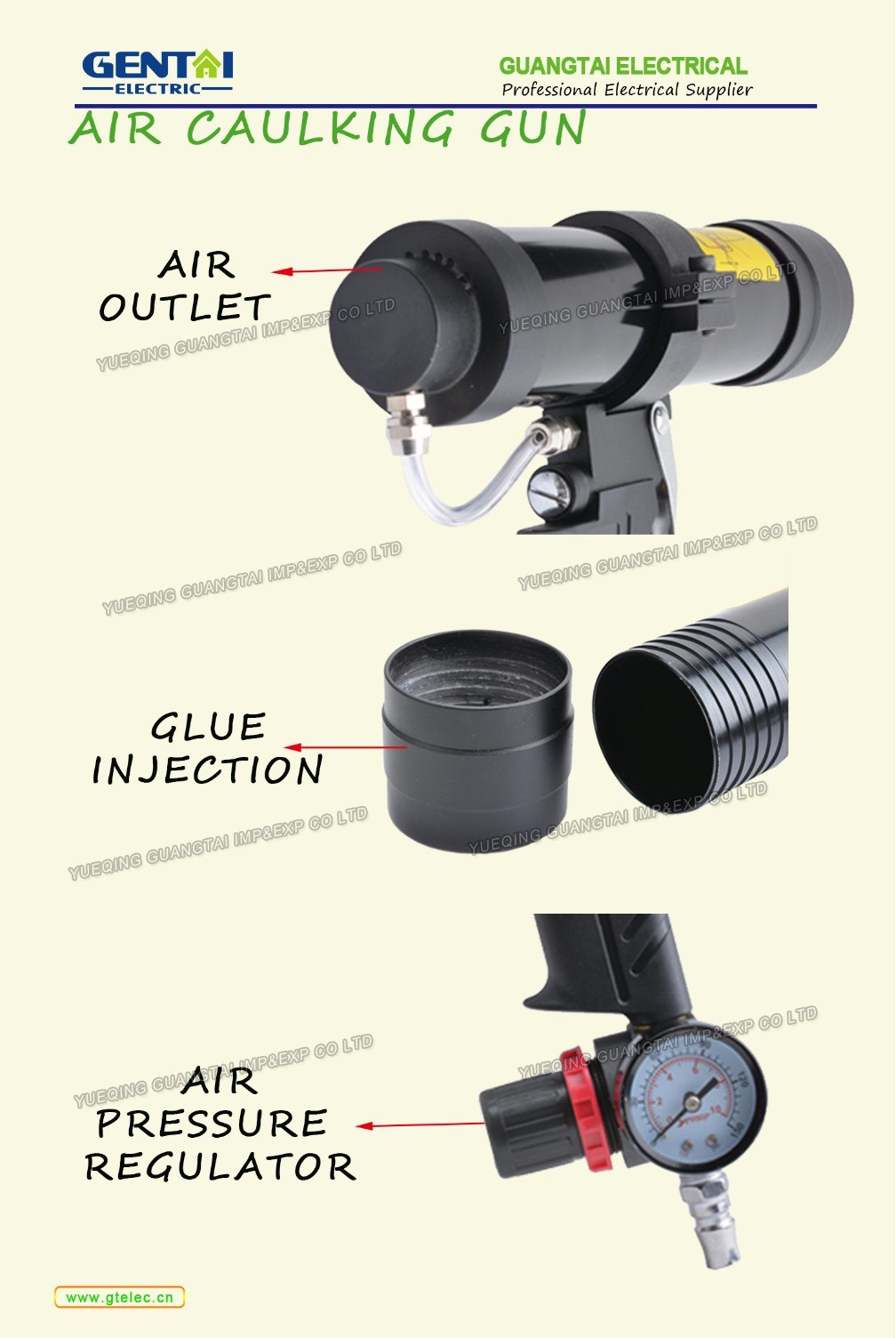 Pneumatic Tool Air Caulking Glue Gun with Gauge