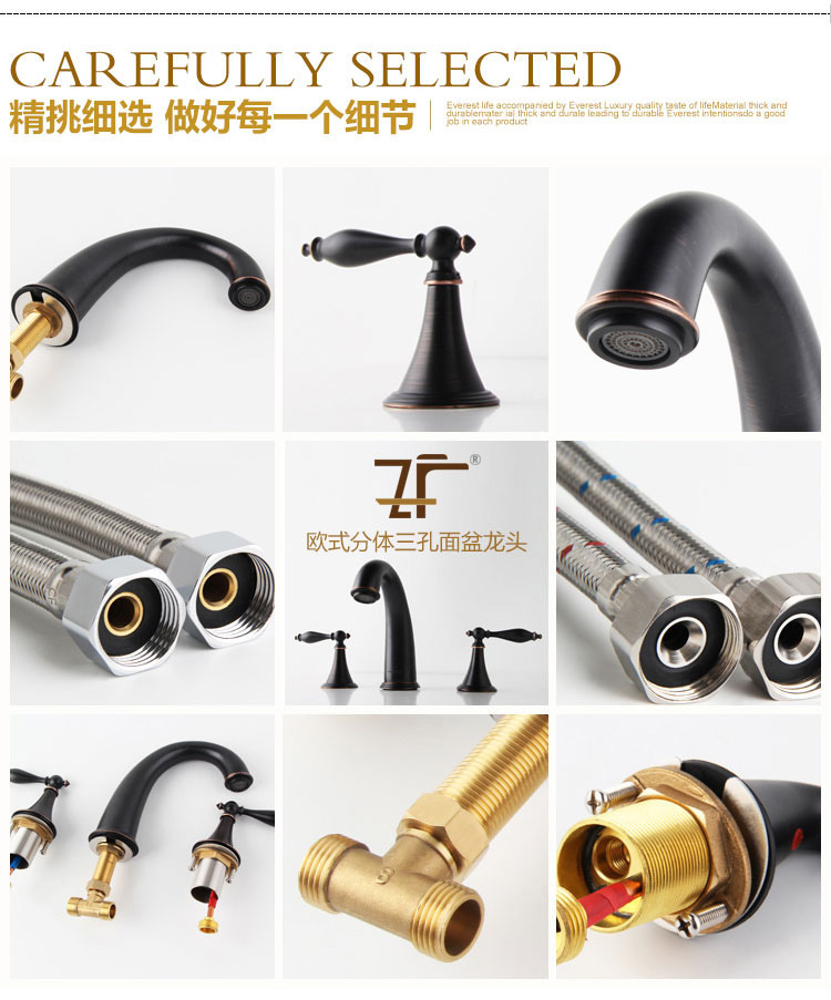 Antique Luxury Life Style Timeless Superb Zf-337 Three-Hole Basin Mixer Faucet