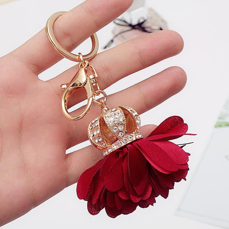 Charm Leather Flower Keychain Bag Pendant Handmade Fashion Gift