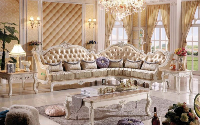 Wood Leather Sofa for Living Room Furniture (803A)