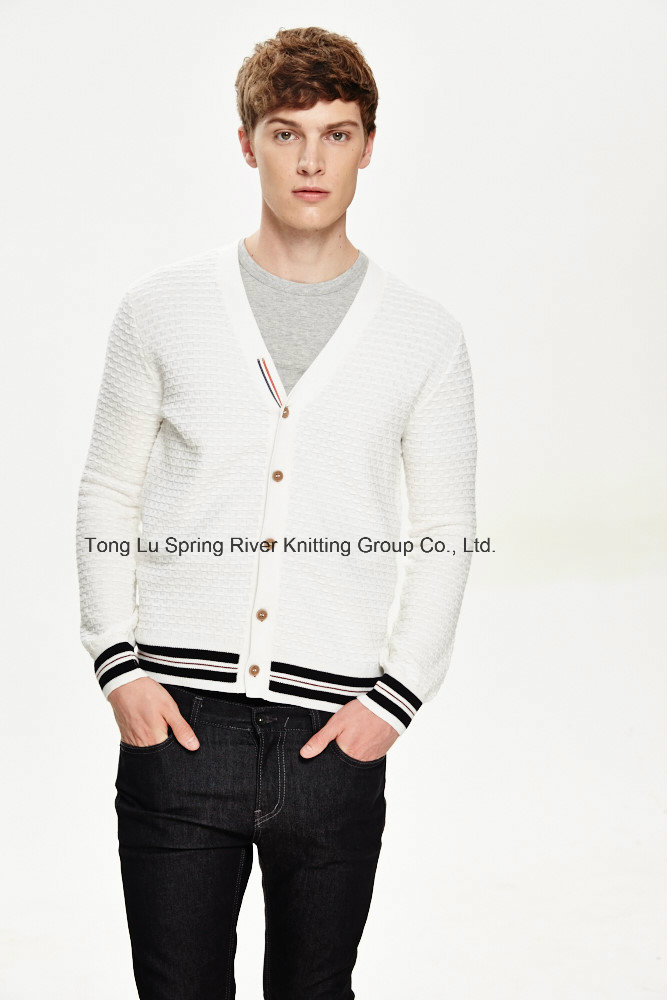 100%Cotton V Neck Men Cardigan with Button