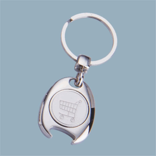 Promotional Shopping Trolley Token Coin Keyring with Custom Logo (F1299)