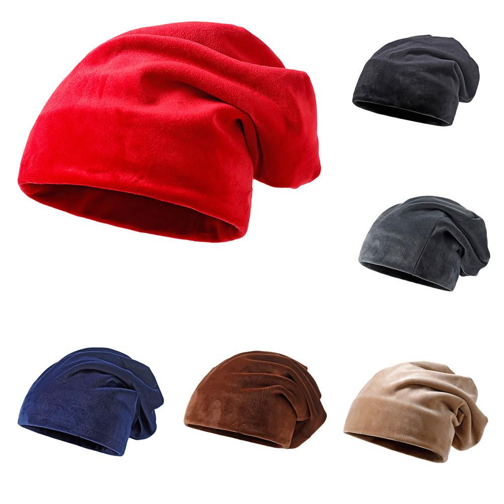 Men Women Solid Color Warm Knit Hat Thick Velvet Wrap Cap Velvet Wrap Cap Warm Harajuku Unisex Party Hat