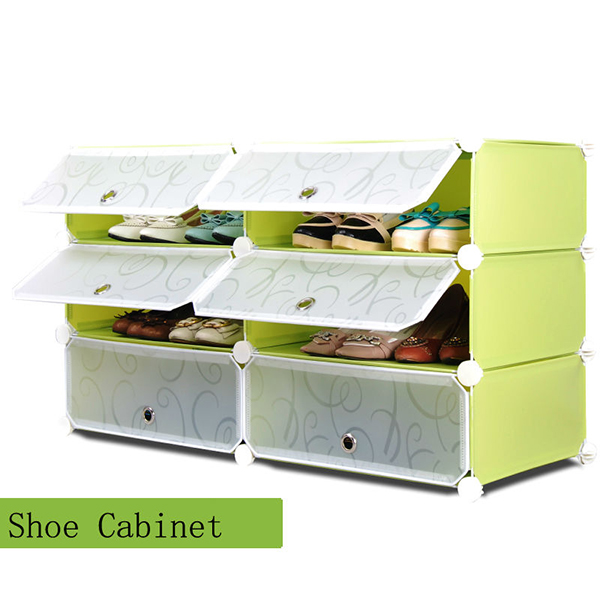 6 Cubes Shelf Plastic Shoe Storage Organizer Cabinet