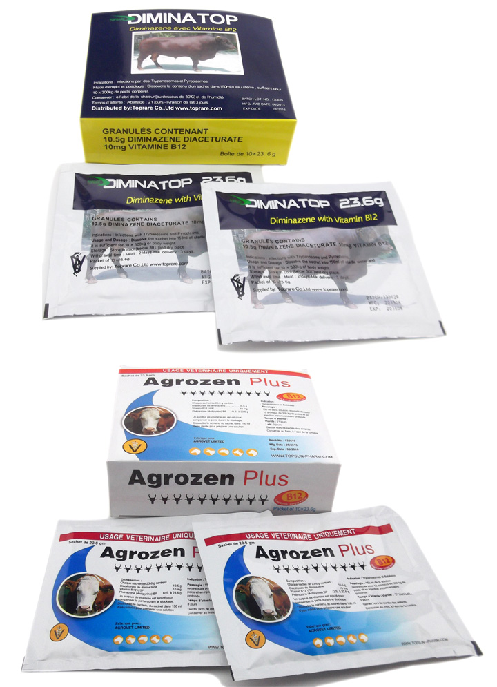 Veterinary Drugs of Diminazene Injectable Powder ( 23.6g/Sachet)