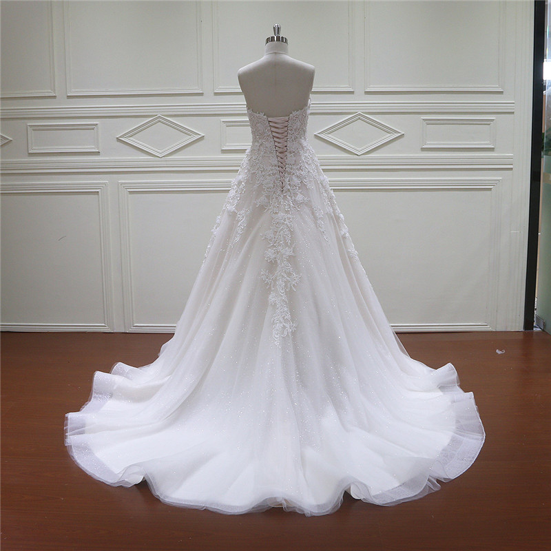 Beaded 3D Flowers Lace Newest Bridal Dress