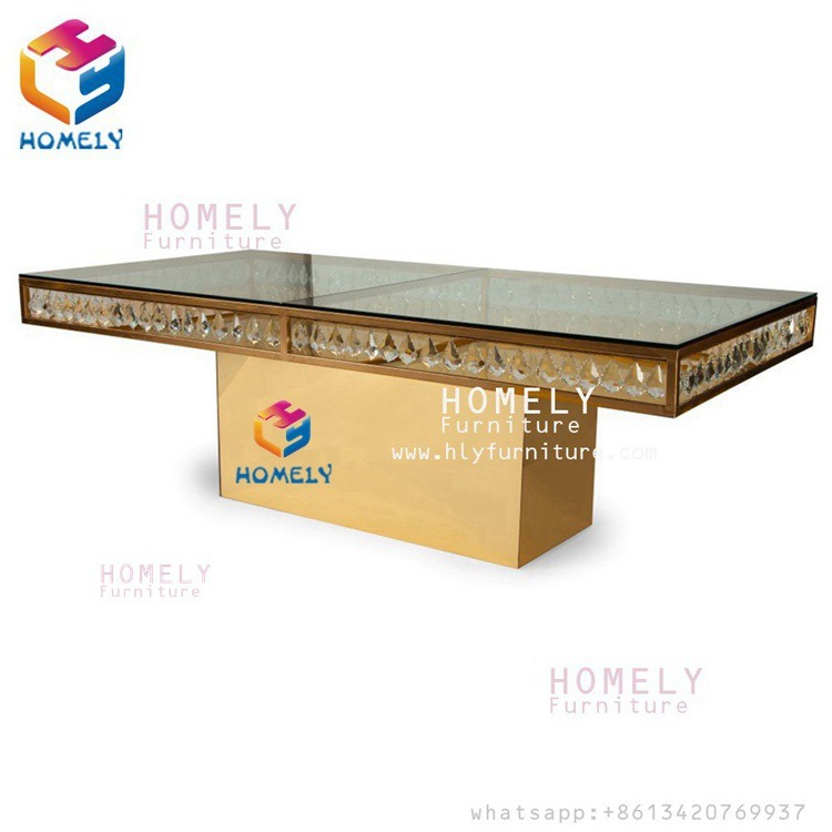 Hotel New Design Stainless Steel Base Glass Wedding Dining Table