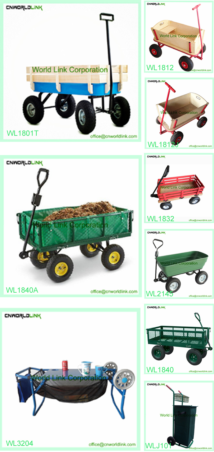 Green Plastic Hand Wagon Garden Cart for Transporting