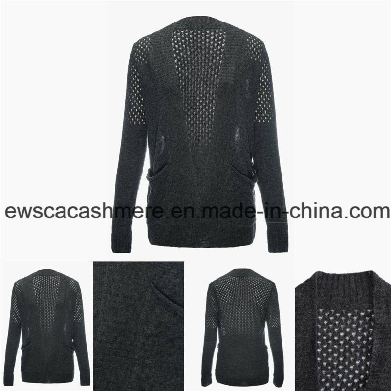 Women's Sexy Cashmere Blend Sweater with Openwork Embroidery