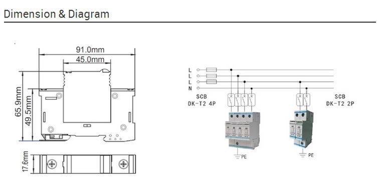 380V AC Power 40ka Three Phase 4p Surge Protection Device SPD