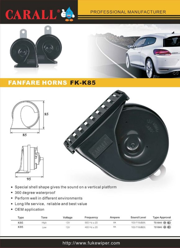 Fk85 2017 Bell Ring Tone Alarm Twin Pack Powerful Magic Voice DC 24V 2.5A Car Speaker Fanfare Snail Auto Horns