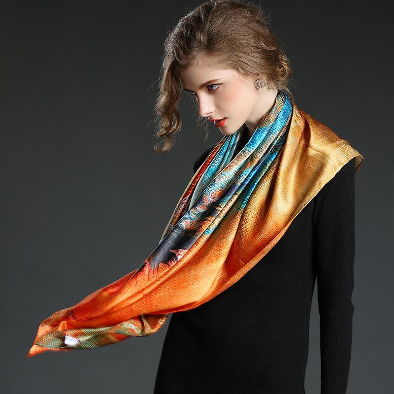 Multicolor Printed Silk Satin Horse Big Square Scarf Shawl 100 * 100 Cm