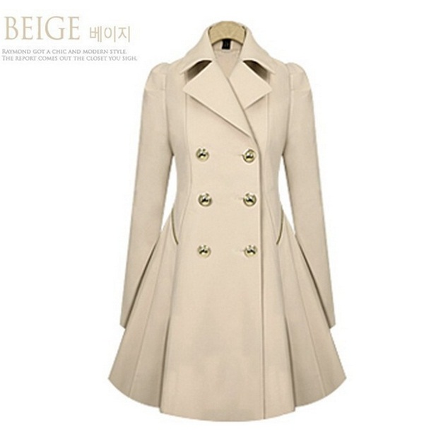 Women's Classic Double-Breasted Slimming Casual Long Trench Coat