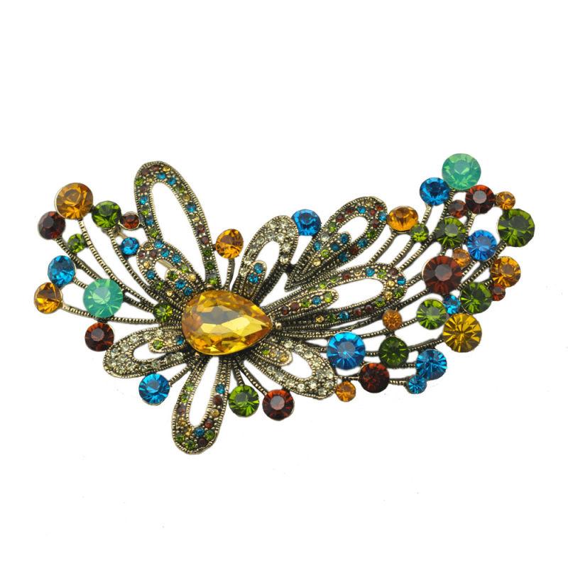 Big Flower Colorful Rhinestone Zinc Alloy Jewelry Brooch