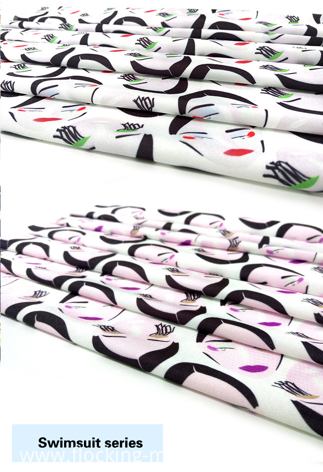 Fancy Face Printed Polyester Spandex Swimwear Fabric