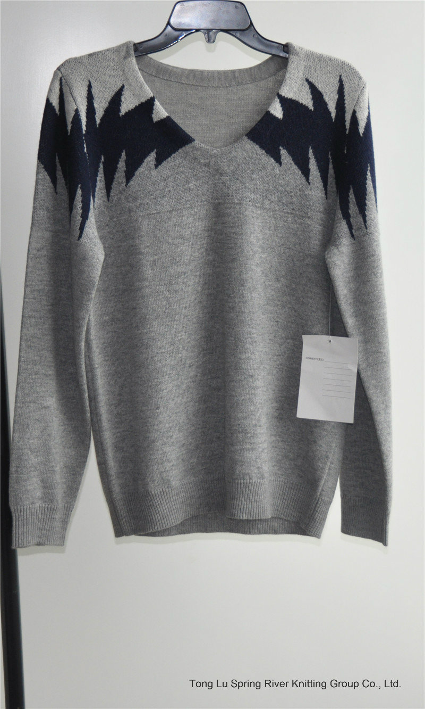Long Sleeve Patterned V-Neck Pullover Man Sweater