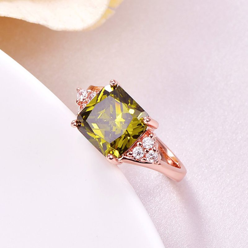 Green Zicron Ring Gold Plated Diamond Women Jewelry