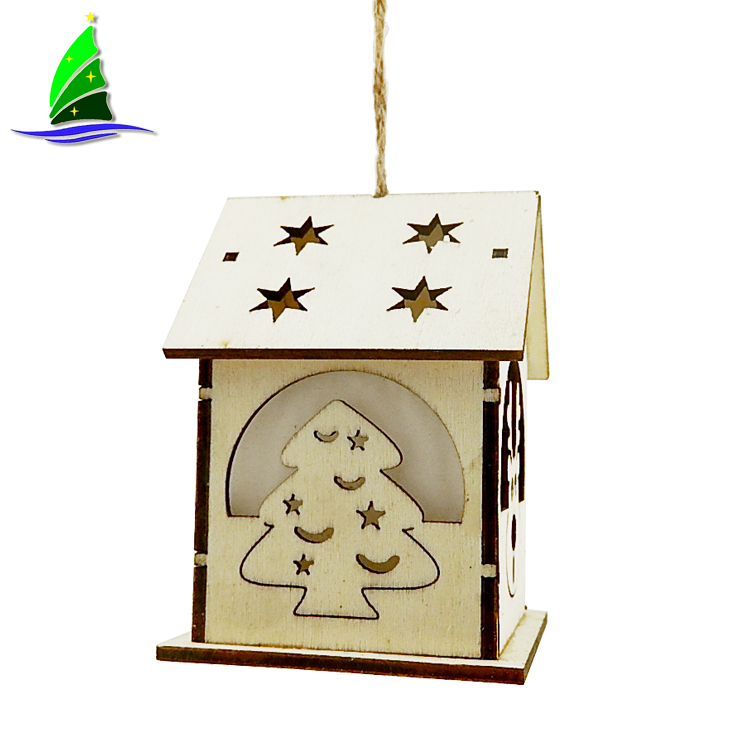 Hanging Ornaments LED Wooden House