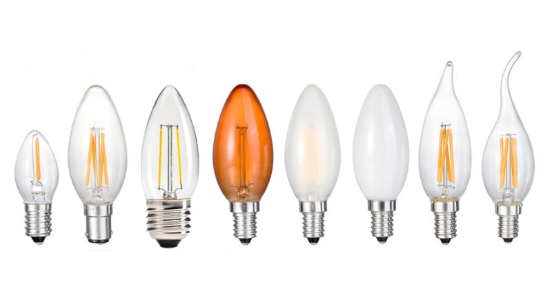 New LED Tail Flameless Candle C35 Glass Lamp Bulb 2W 4W 6W