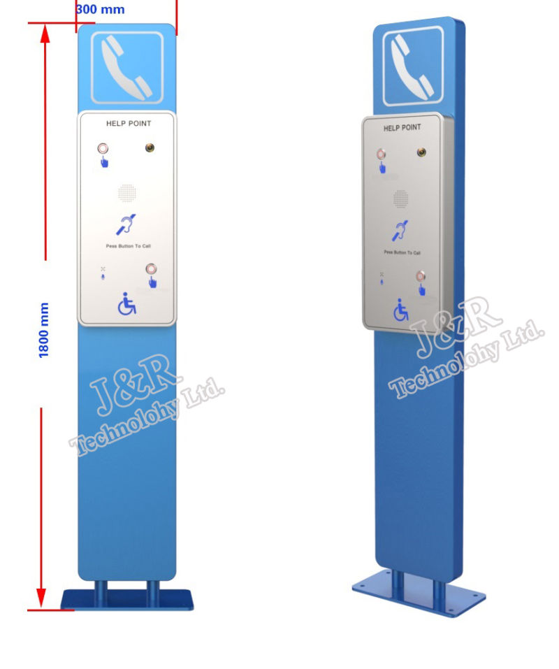 Help Point Pillar with Video, Campus Security Systems, Public Sos Phone