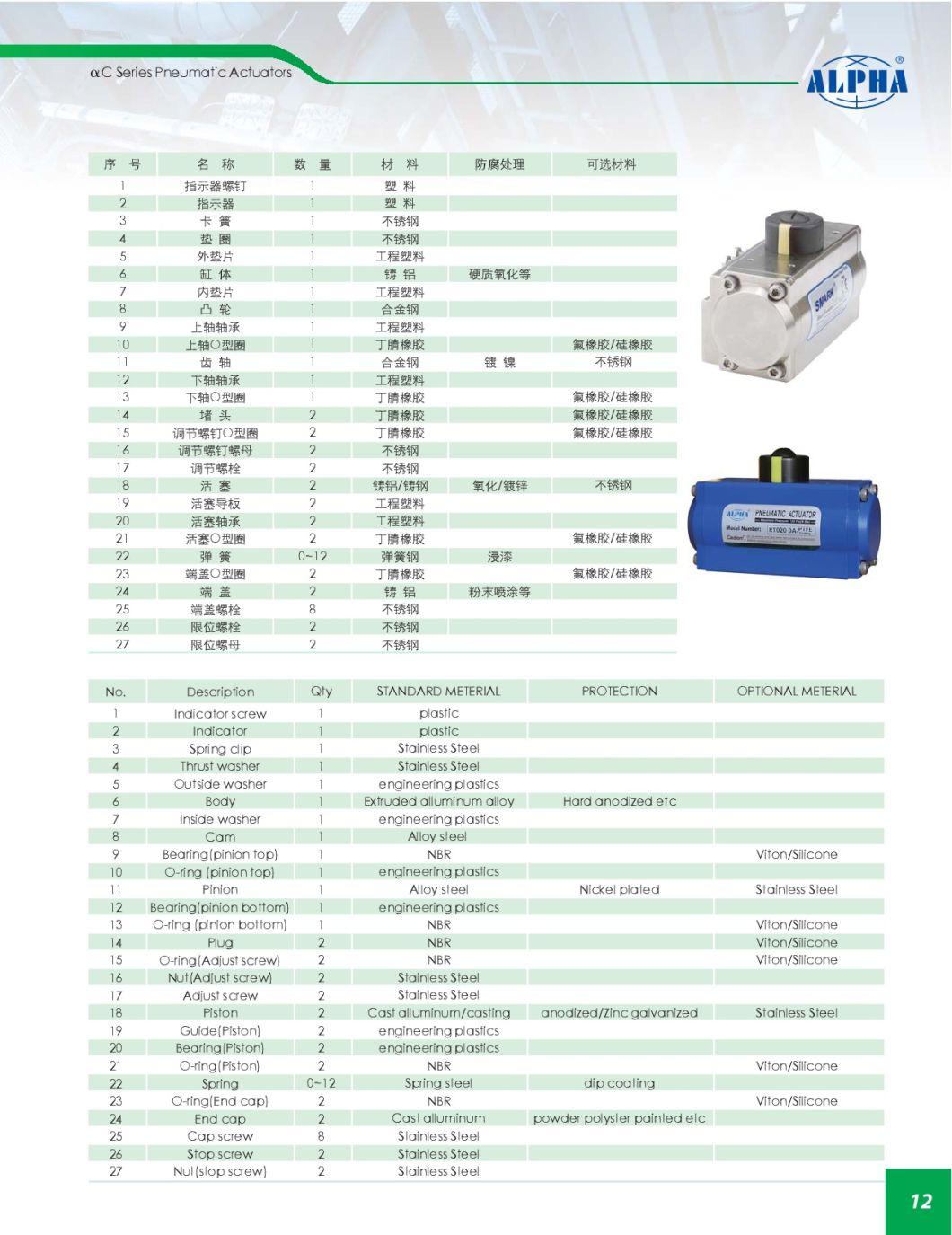 Alpha C Yellow Rt020 Pneumatic Actuator