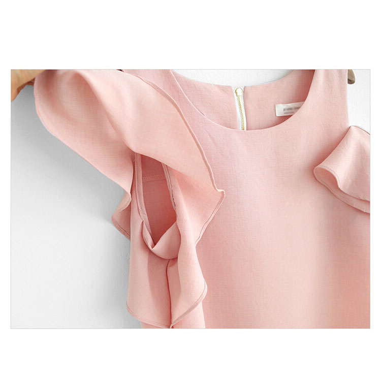 Fashion Ruffle Women Chiffon T-Shirt