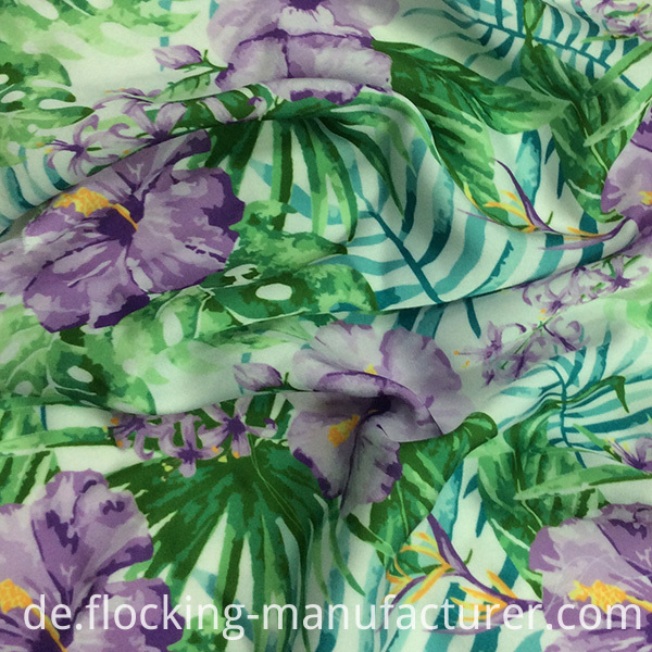 Polyester Stretchable Satin Chiffon Flower Printed Garment Fabric