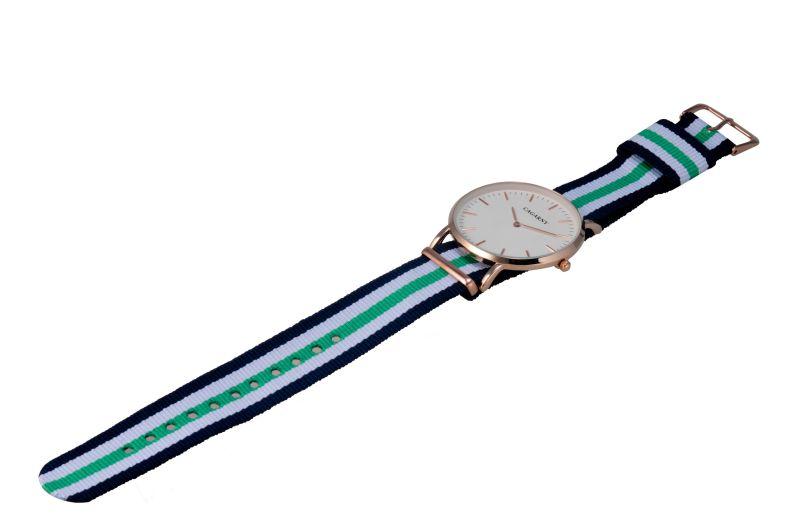 Nylon Strip Watch 12 Pins on Dial, Gold Case White Dial