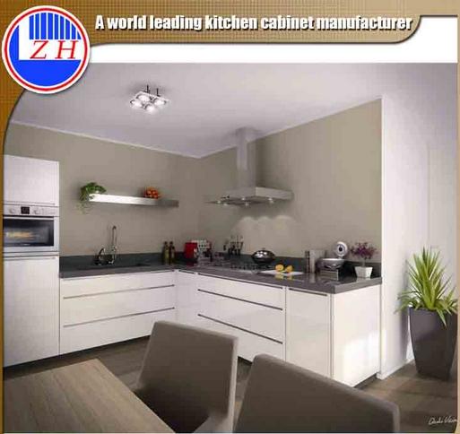 Modern Laminated Kitchen Cabinet with Acrylic / Lacqure /UV Surface Treatment (zhuv)