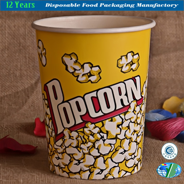 Disposable Paper Popcorn Bucket Food Container Paper Bowl