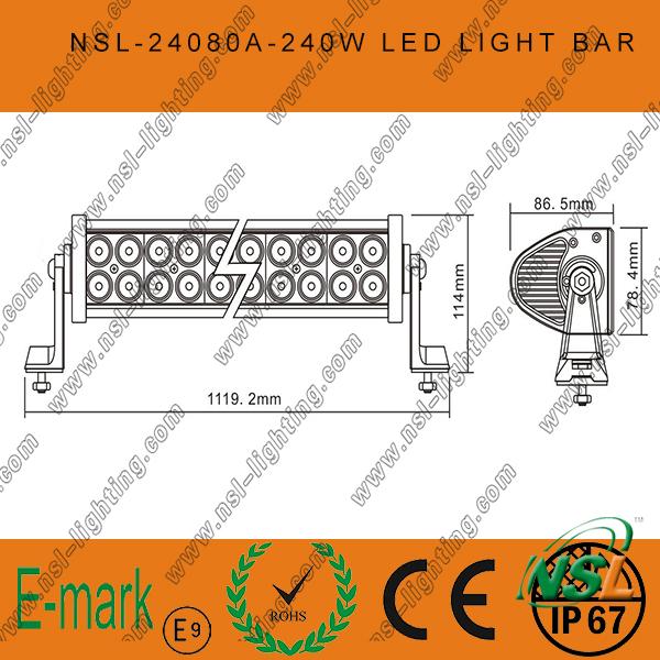 Hot! ! 80PCS*3W LED off Road Light Bar, 3W Epsitar LED Light Bar, 42inch LED Light Bar