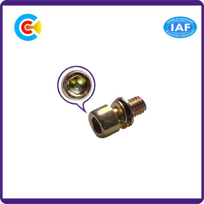 DIN/ANSI/BS/JIS Carbon-Steel/Stainless-Steel Multicolored M6 Hexagonal Galvanized Fan Combination Screws