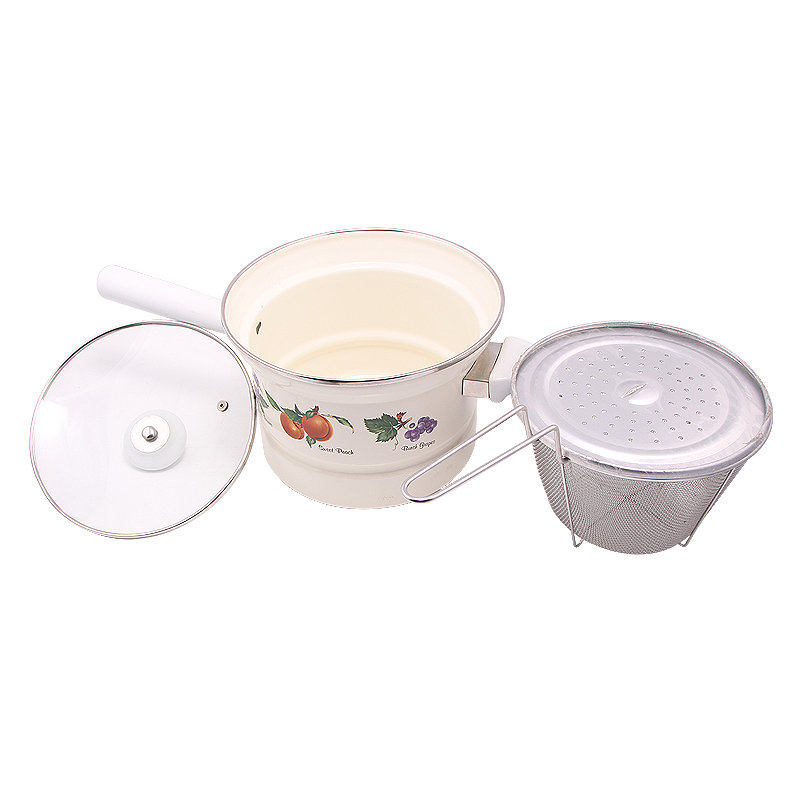 (LONGFEI) 501dg Perfect Quality Ceramic Handle Enamel Noodle Pot